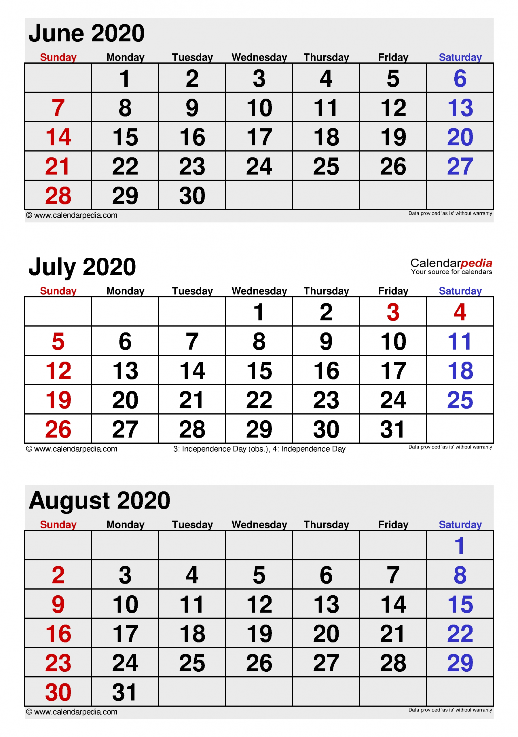 July 2020 Calendar | Templates For Word, Excel And Pdf