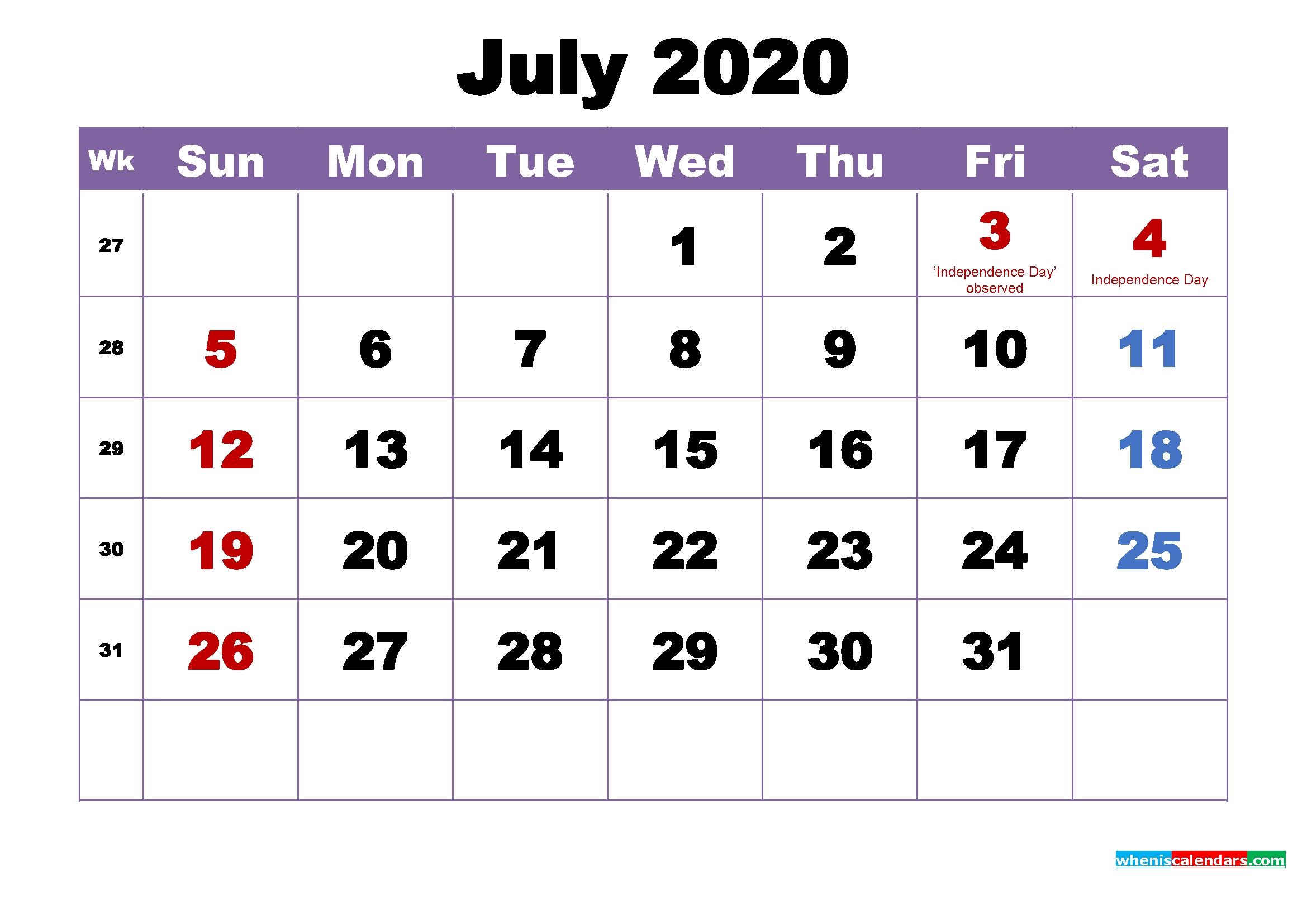 July 2020 Desktop Calendar Monthly – Free Printable 2020