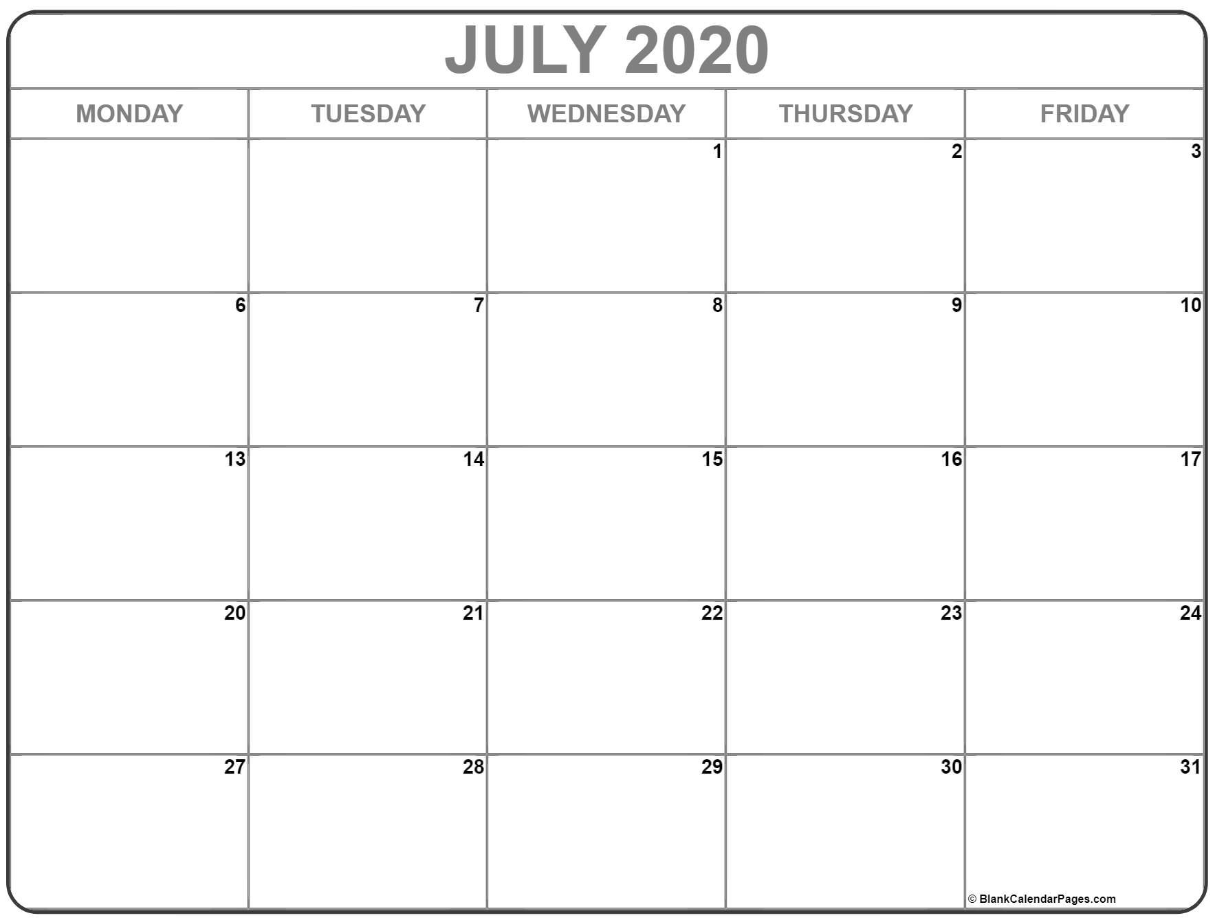 July 2020 Monday Calendar | Monday To Sunday