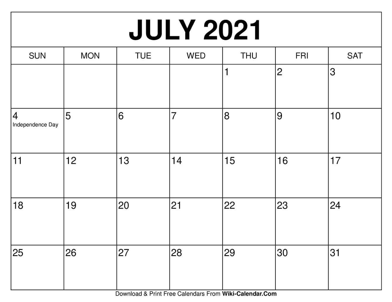 july 2021 calendar in 2020 | calendar, july calendar, free