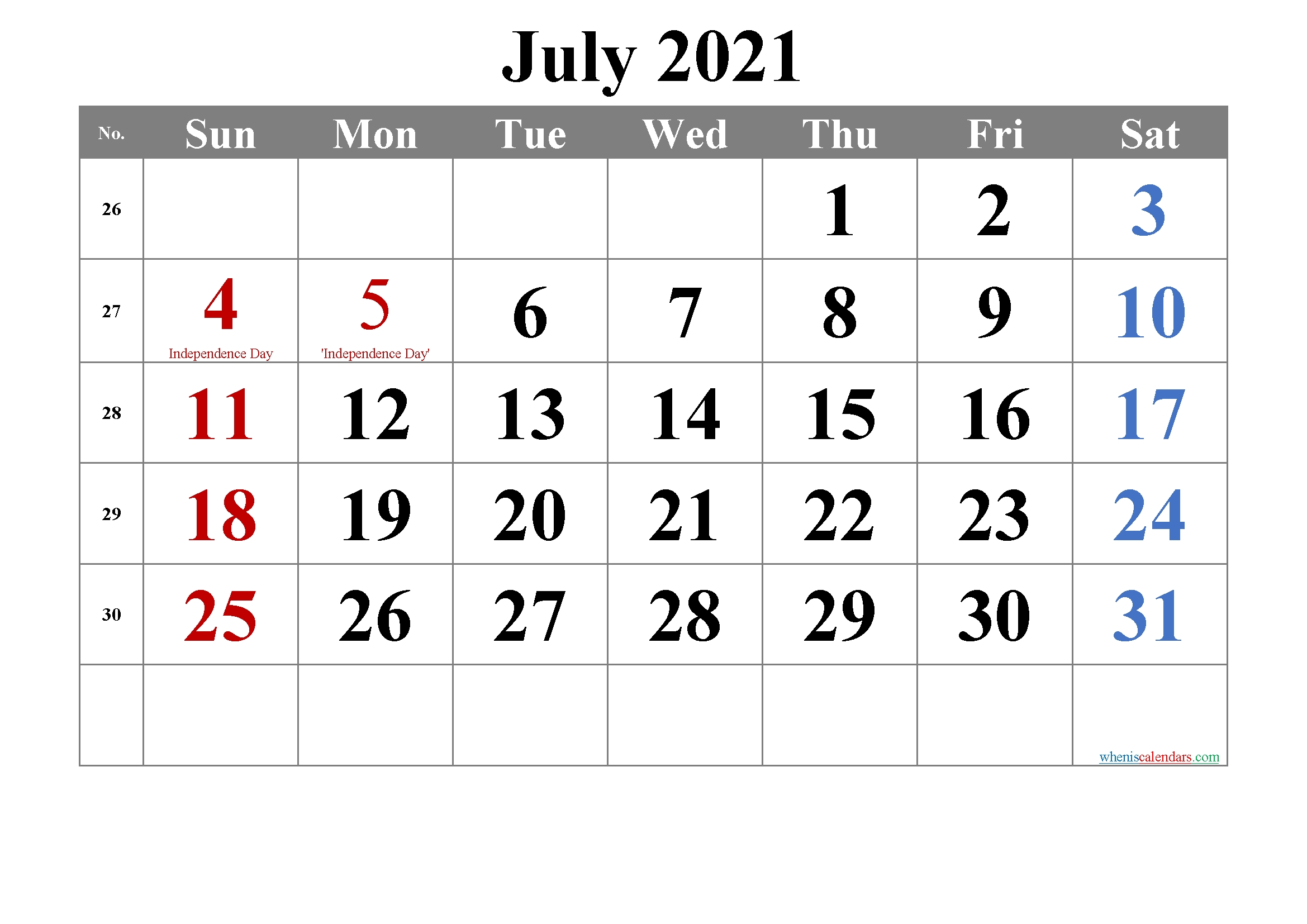 July 2021 Calendar With Holidays Printable Template No