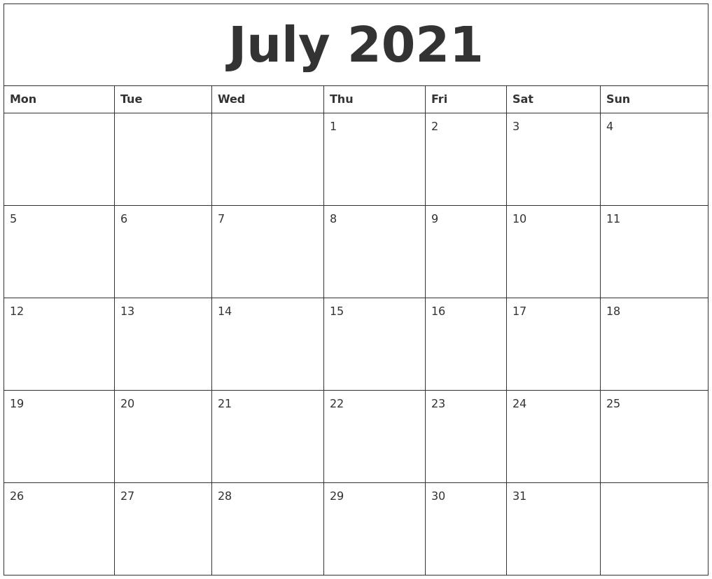 july 2021 free blank calendar template