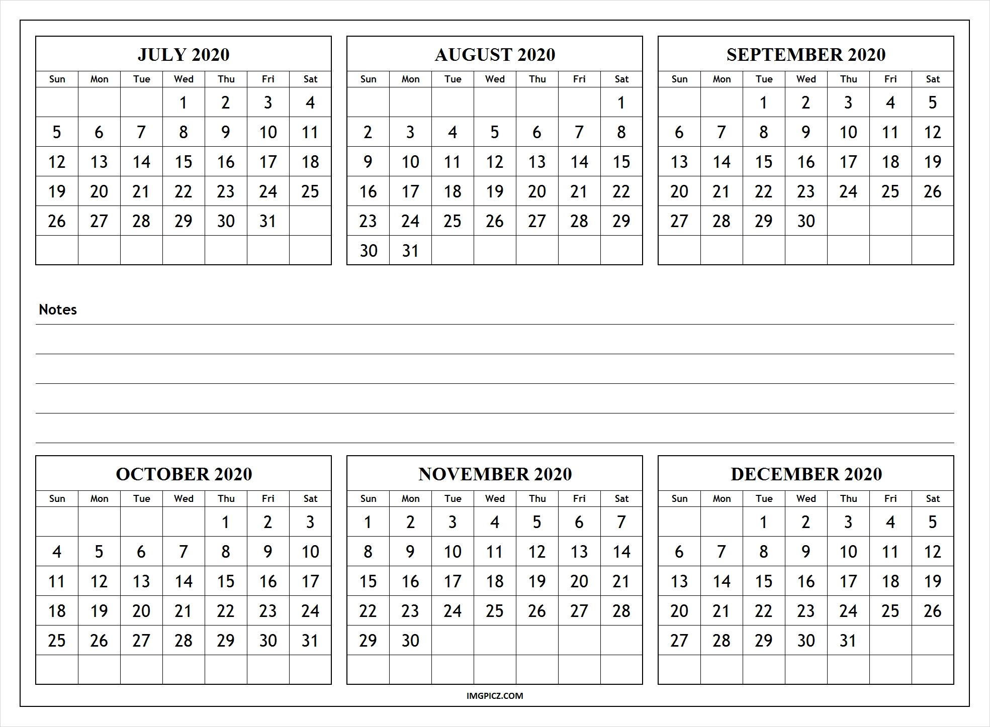 July To December 2020 Calendar Template | 6 Months 2020 Calendar