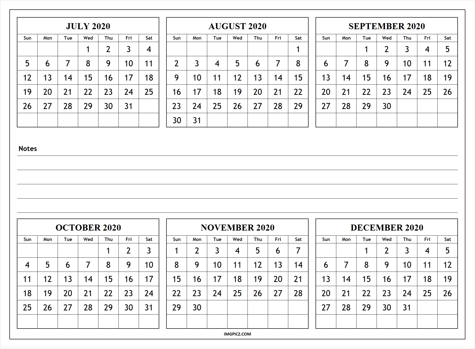 july to december 2020 calendar template | 6 months 2020 calendar