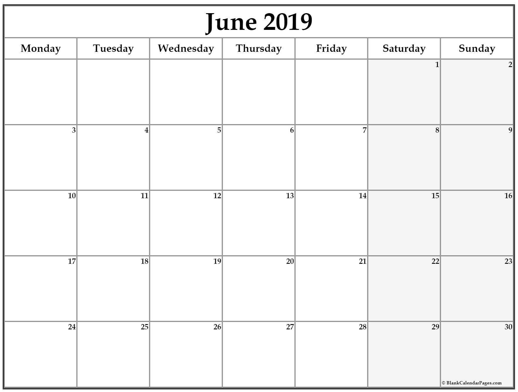 June 2019 Monday Calendar Monday To Sunday | Calendar