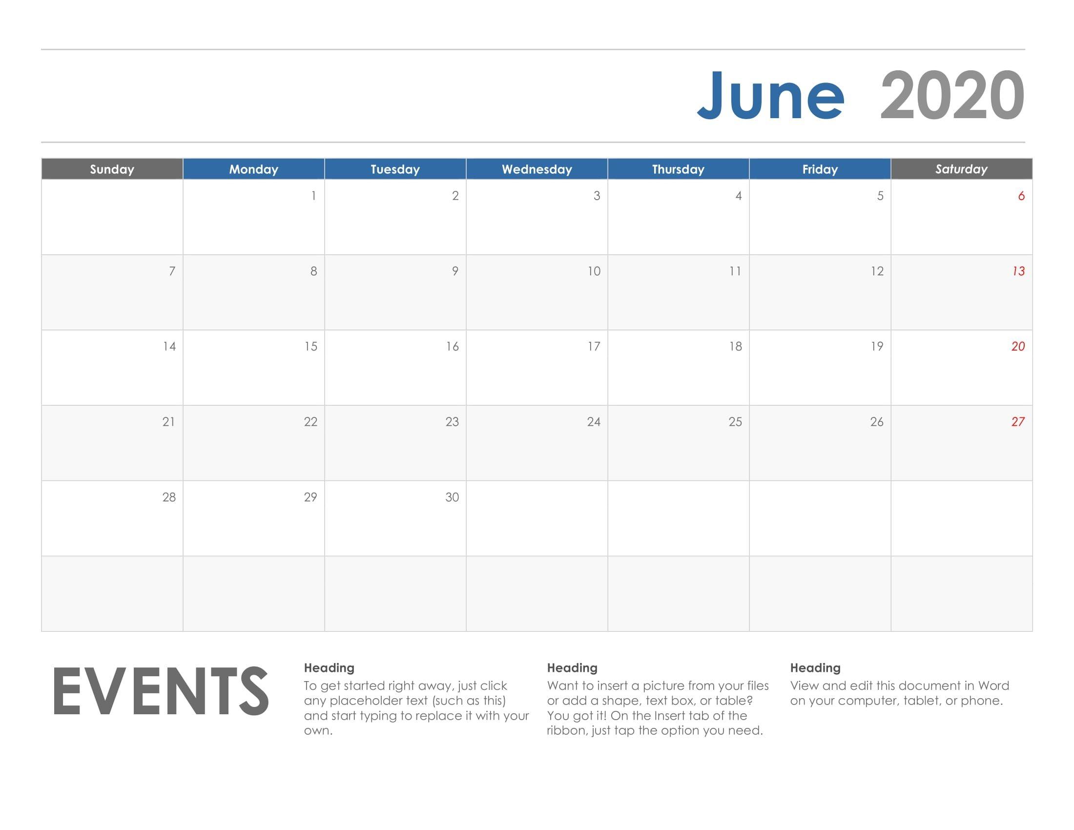 June 2020 Printable Calendar Printable Calendar Template
