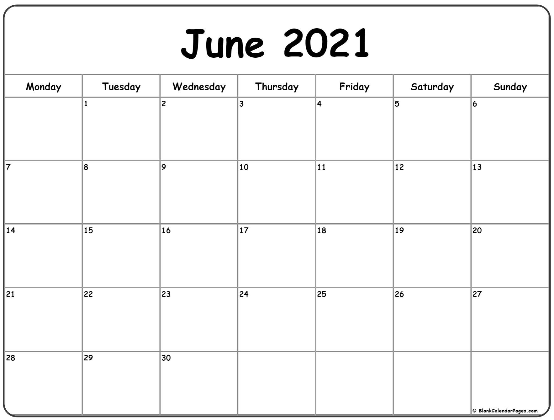 june 2021 monday calendar | monday to sunday