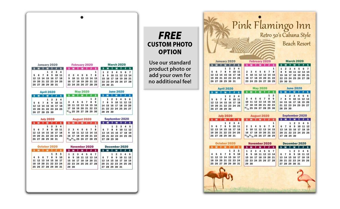 laminated card calendar, 5 25 x 8 5 (colors