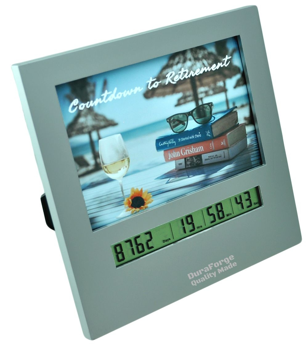 Large Display Retirement Countdown Clock With 4×6 Picture Frame, Countdown Retirement Clocks Are Fun Gifts For Women