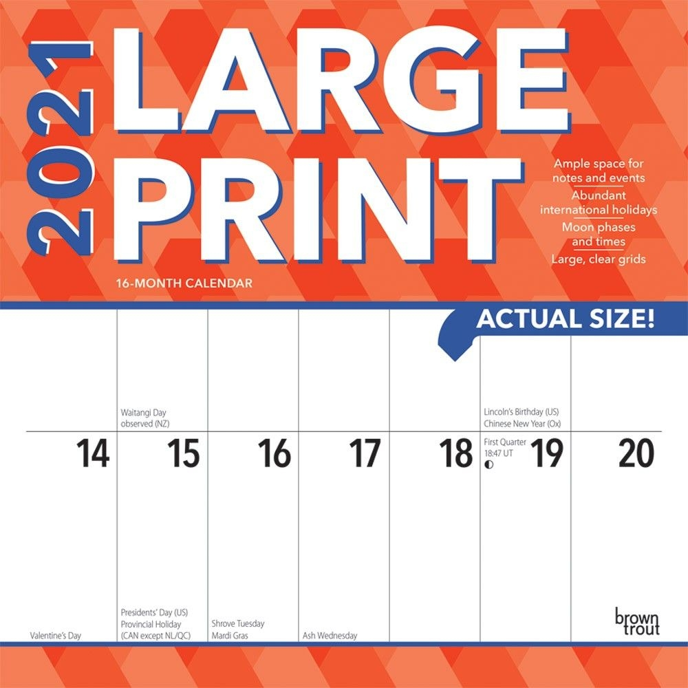 Large Print 2021 12 X 12 Inch Monthly Square Wall Calendar