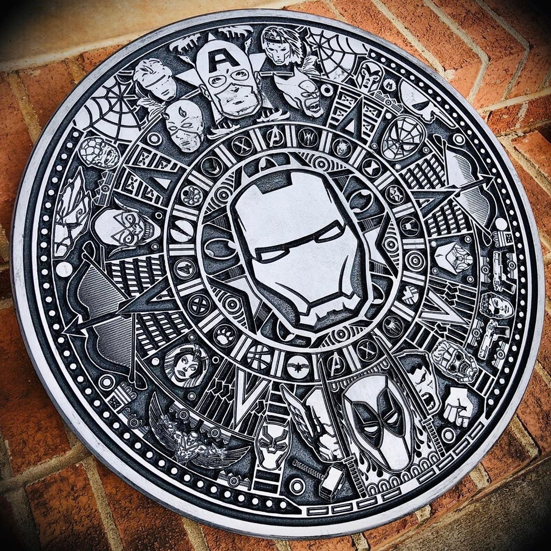 Laser Cut Engraving Marvel Aztec Calendar Free Vector Cdr