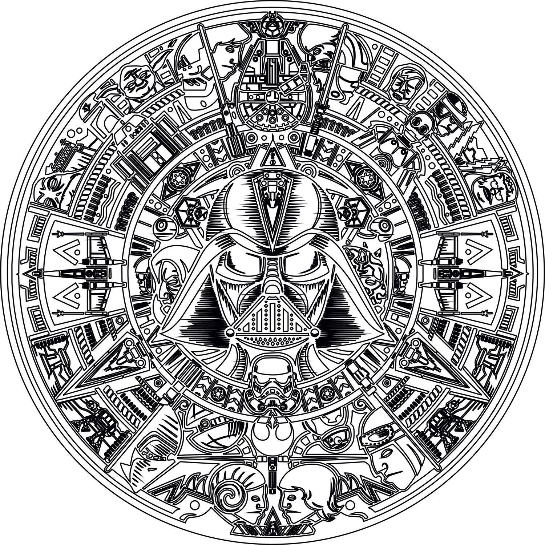 Laser Engraving Star Wars Aztec Calendar Free Vector Cdr