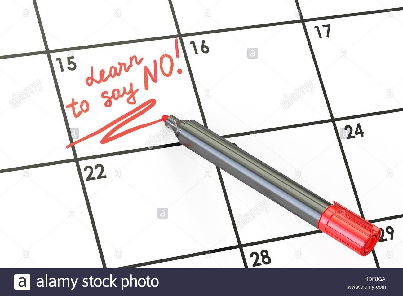 learn to say no! date on calendar concept, 3d rendering