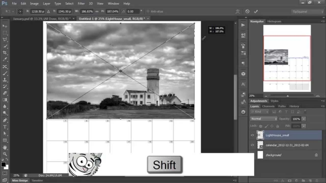 making an easy photo calendar in photoshop