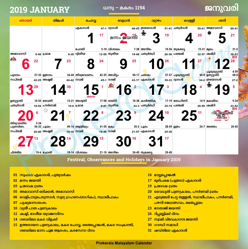 malayalam calendar 2019, january