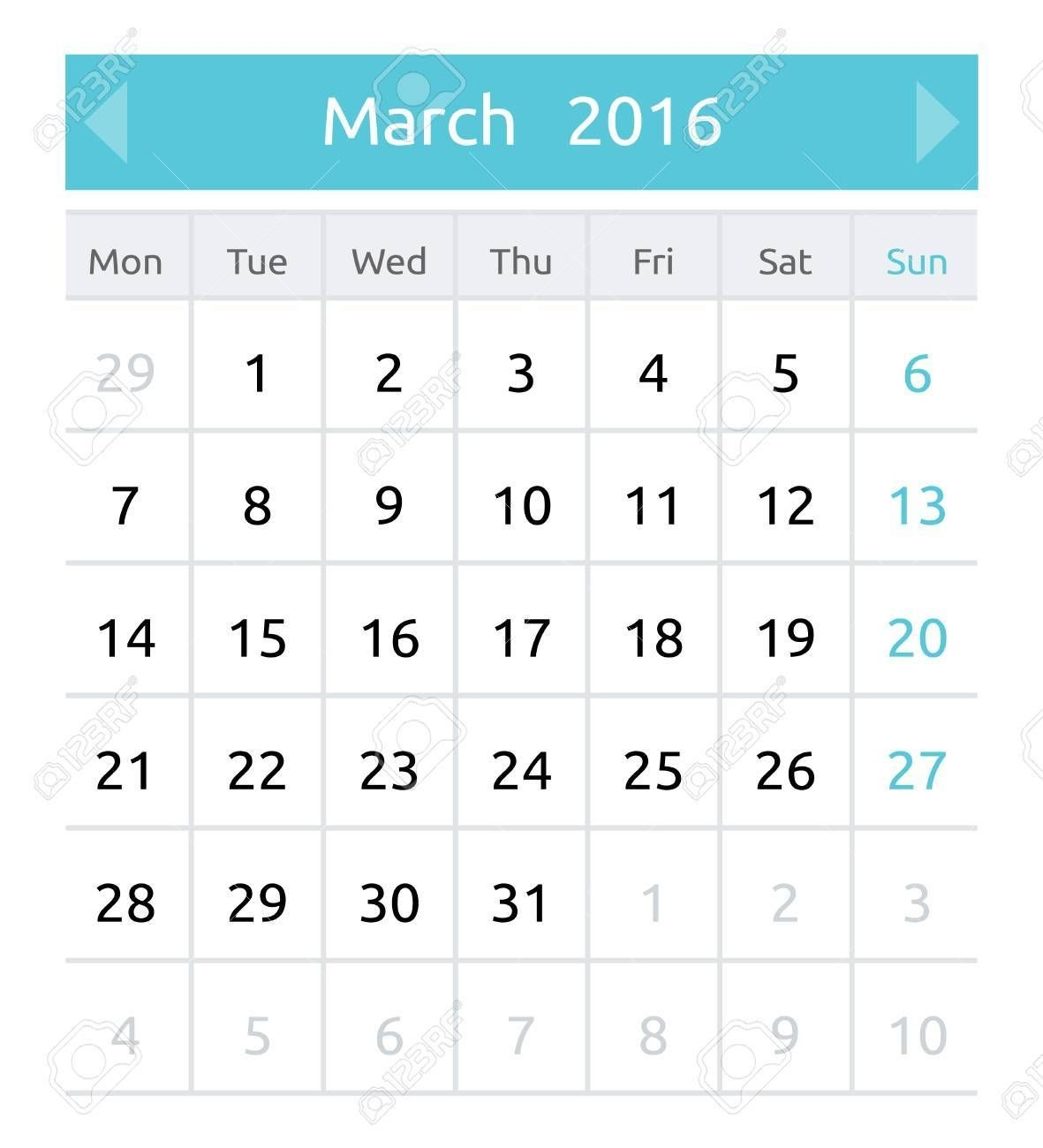 March 2016 Simple European Calendar For 2016 Year One Month