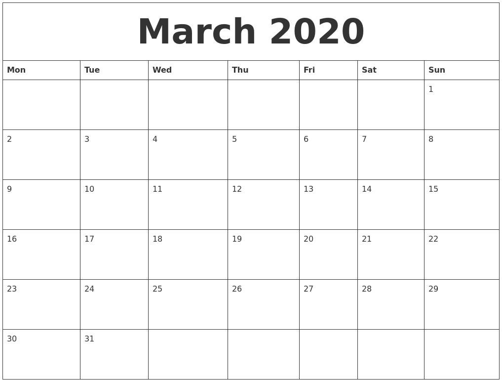 march 2020 blank monthly calendar pdf