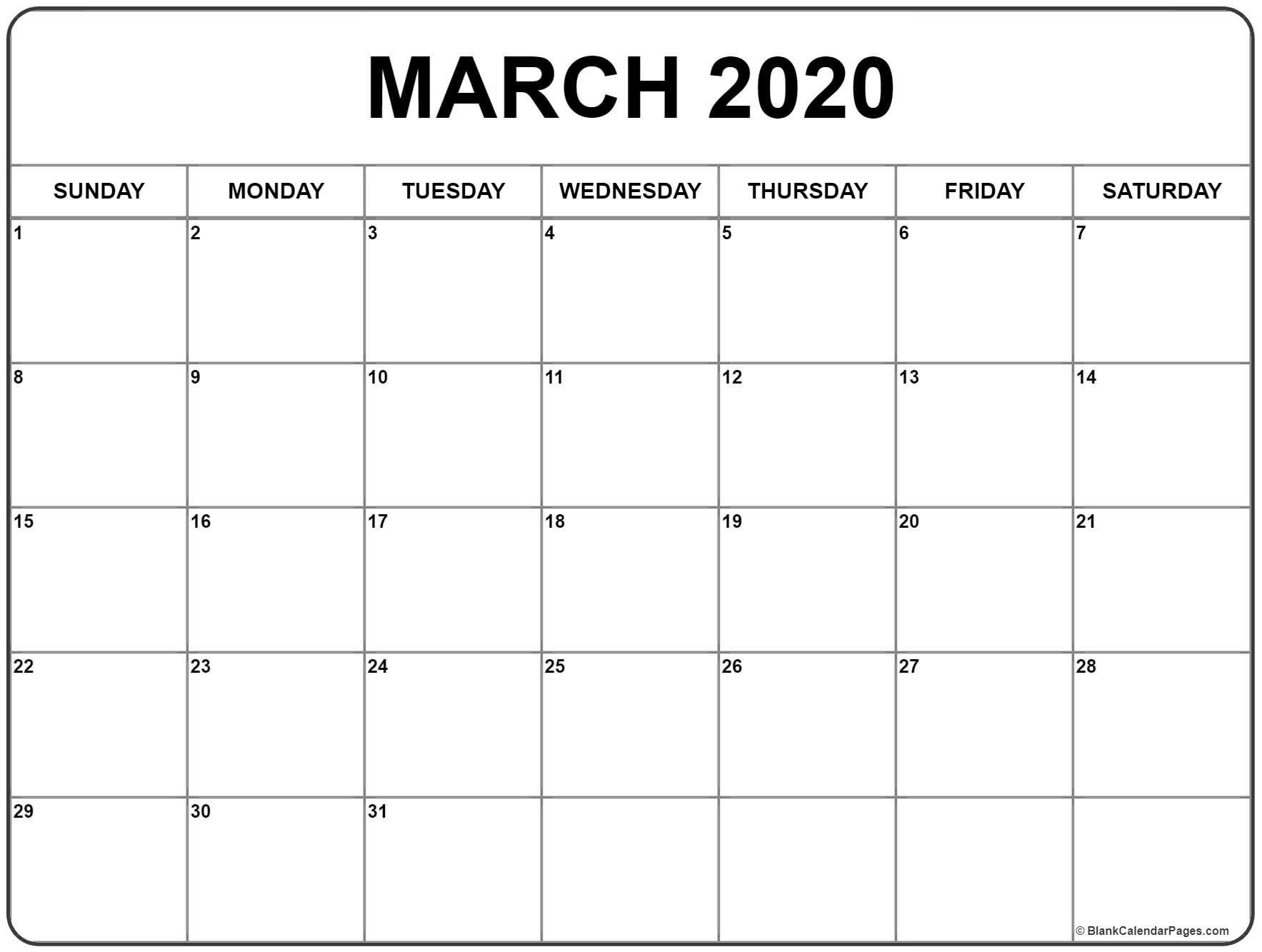 March 2020 Calendar Free Printable Monthly Calendars Blank