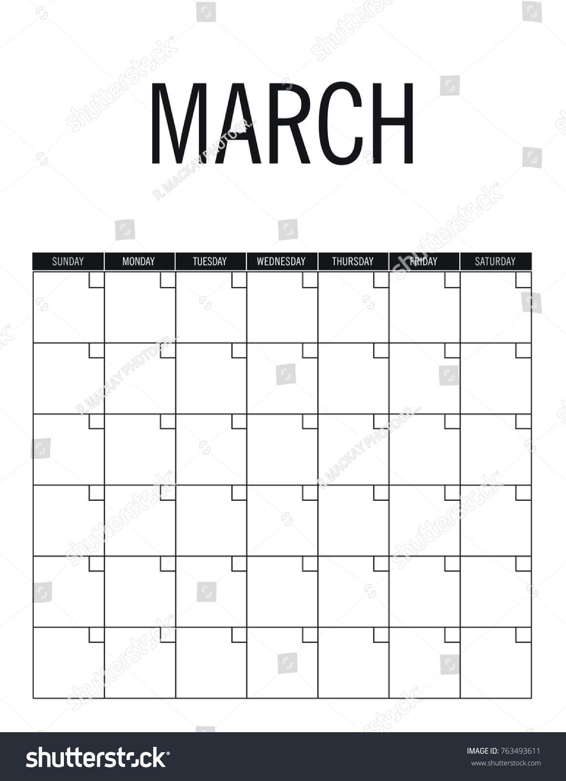 March Blank Calendar Page No Dates Stock Vector (royalty
