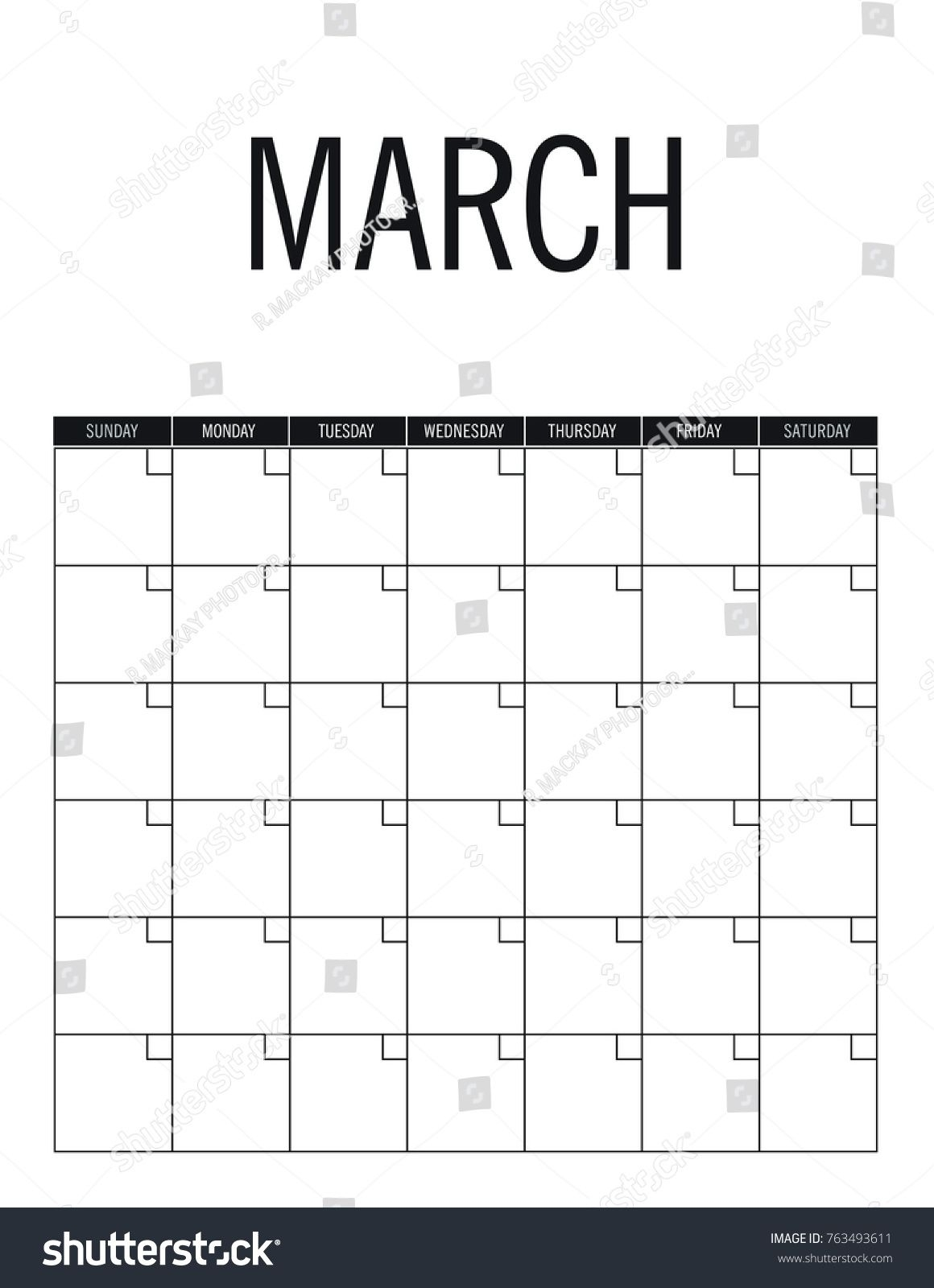 March Blank Calendar Page No Dates Stock Vector (royalty