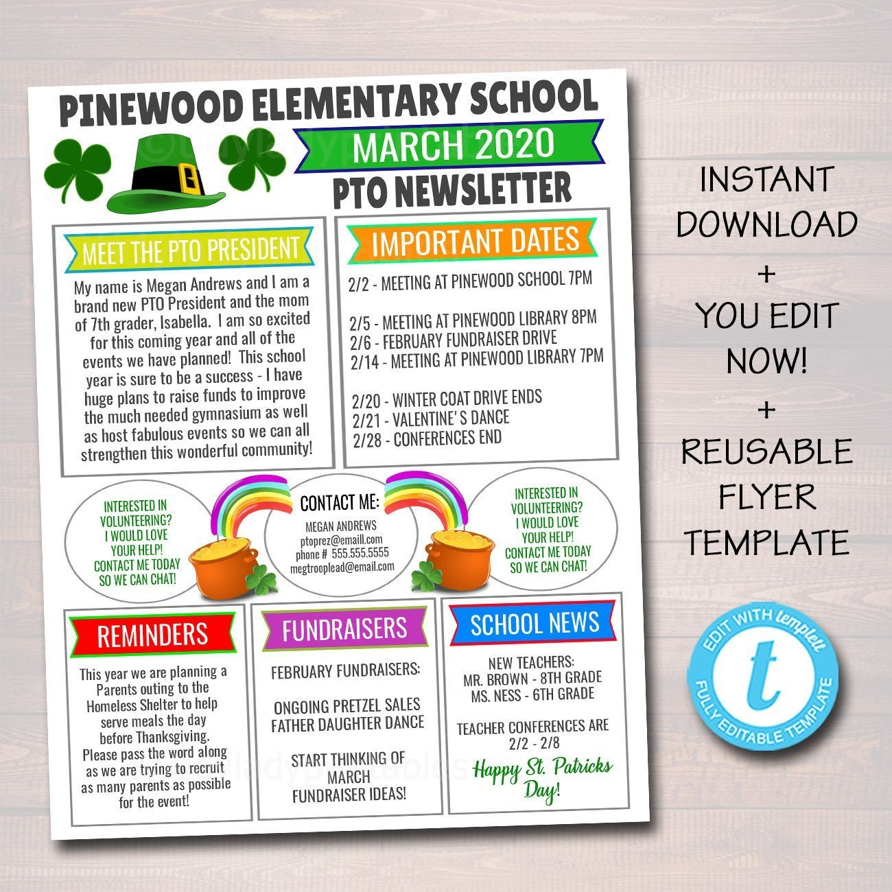 March Pto Pta Newsletter Flyer St Patricks Day Printable