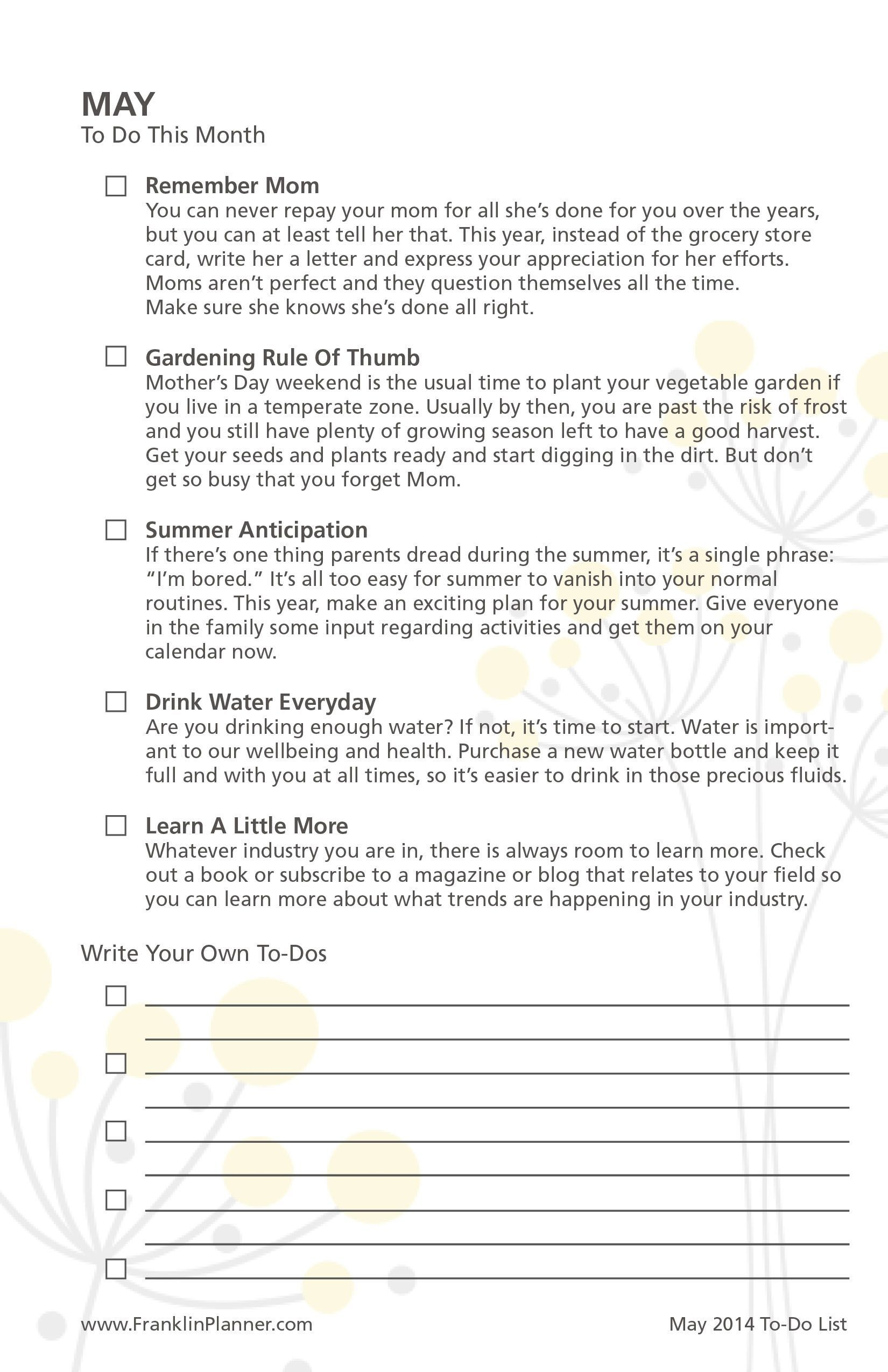 may 2014 to do checklist | to do checklist, franklin planner