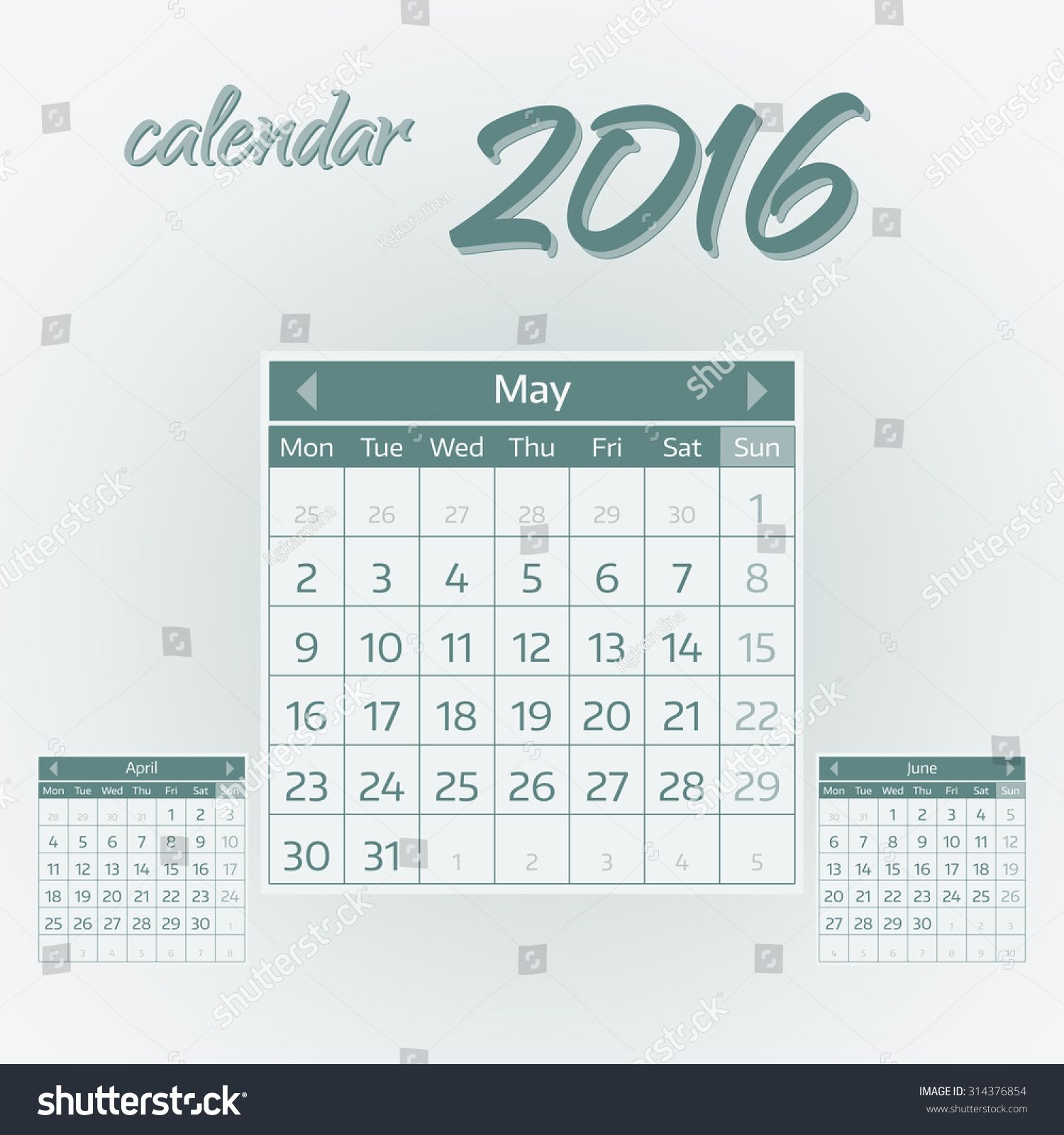 may 2016 simple european calendar 2016 stock vector (royalty