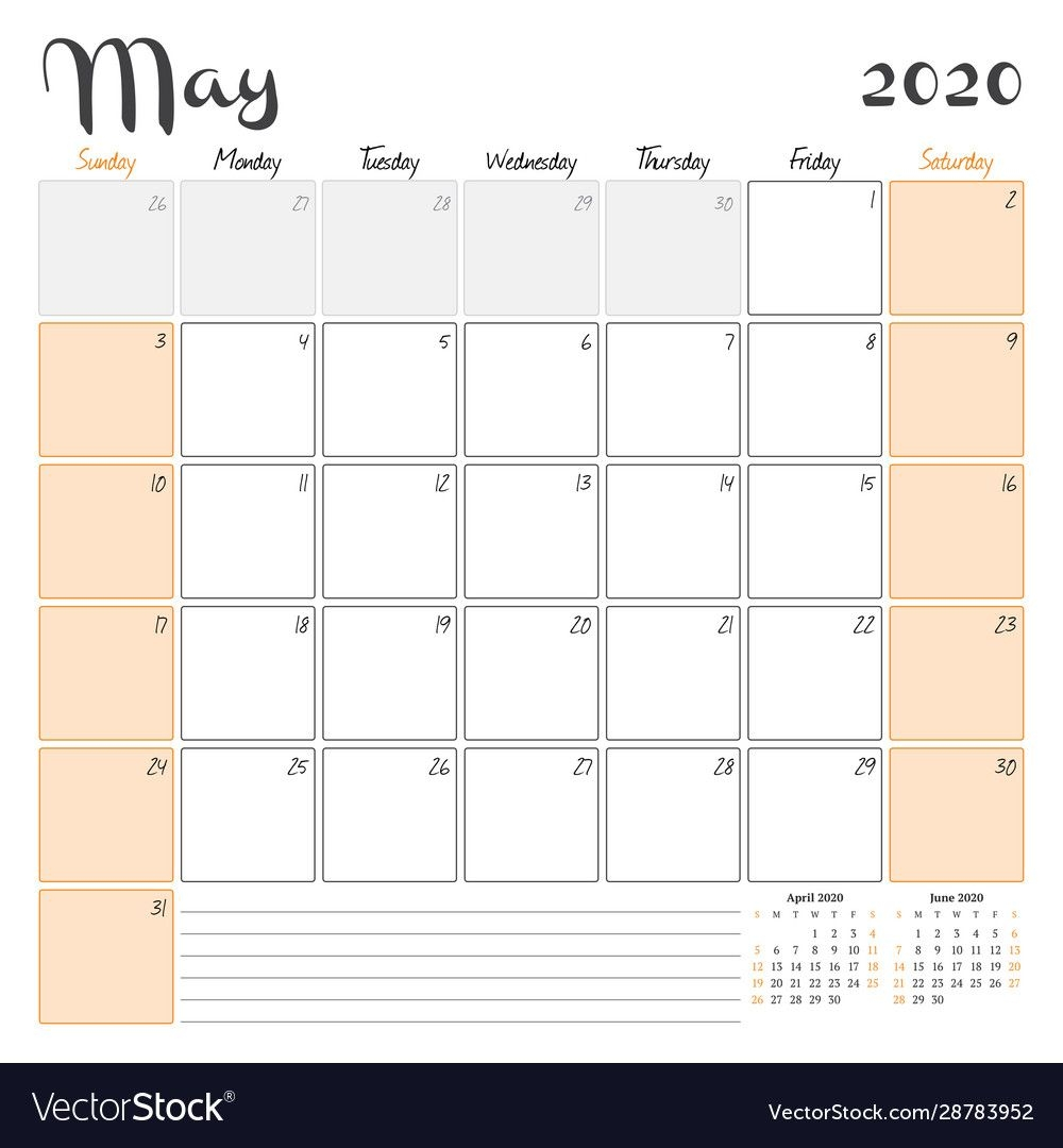 may 2020 monthly calendar planner printable