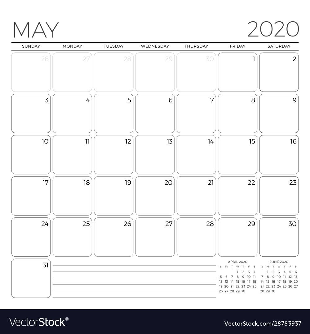 May 2020 Monthly Calendar Planner Template