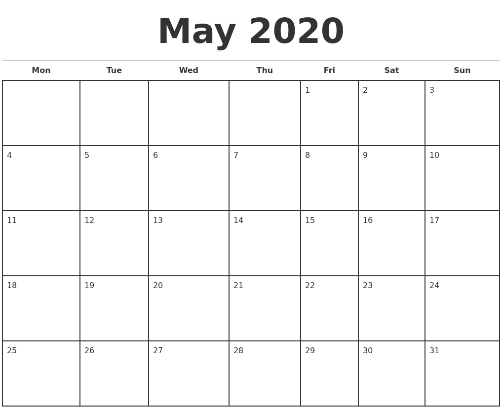 May 2020 Monthly Calendar Template