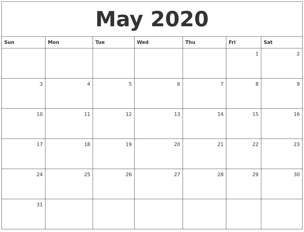May 2020 Monthly Calendar