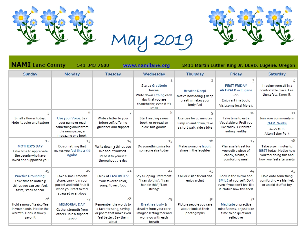 mental health awareness month self care calendar! nami