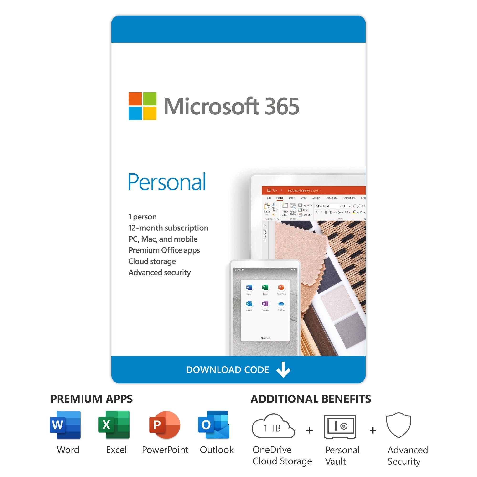microsoft 365 personal (1 user license / 12 month subscription / download)