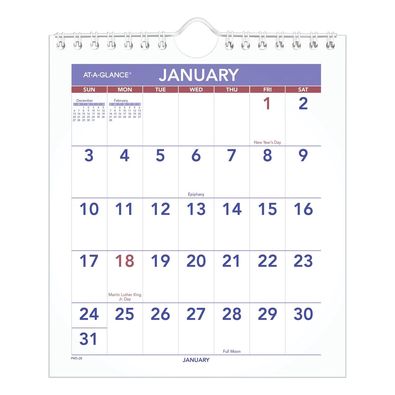 Mini Monthly Wall Calendar, 7 X 8, White, 2021