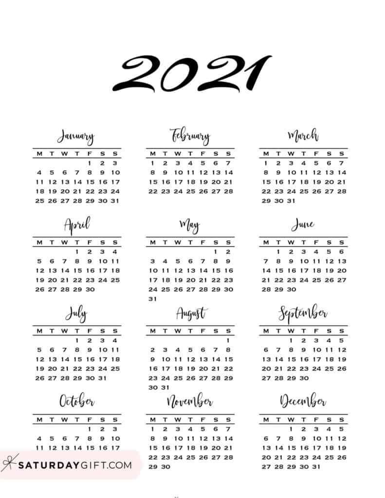 Minimal One Page Calendar For 2020 & 2021 {free Printables}