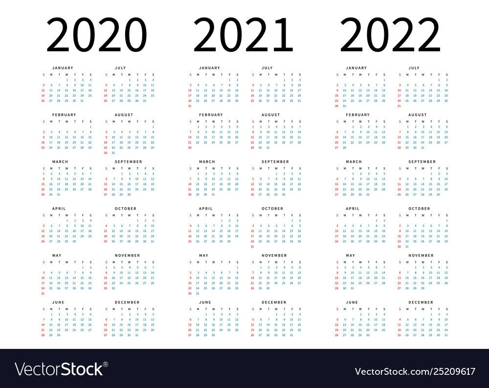Mockup Simple Calendar Layout For 2020 2021 And