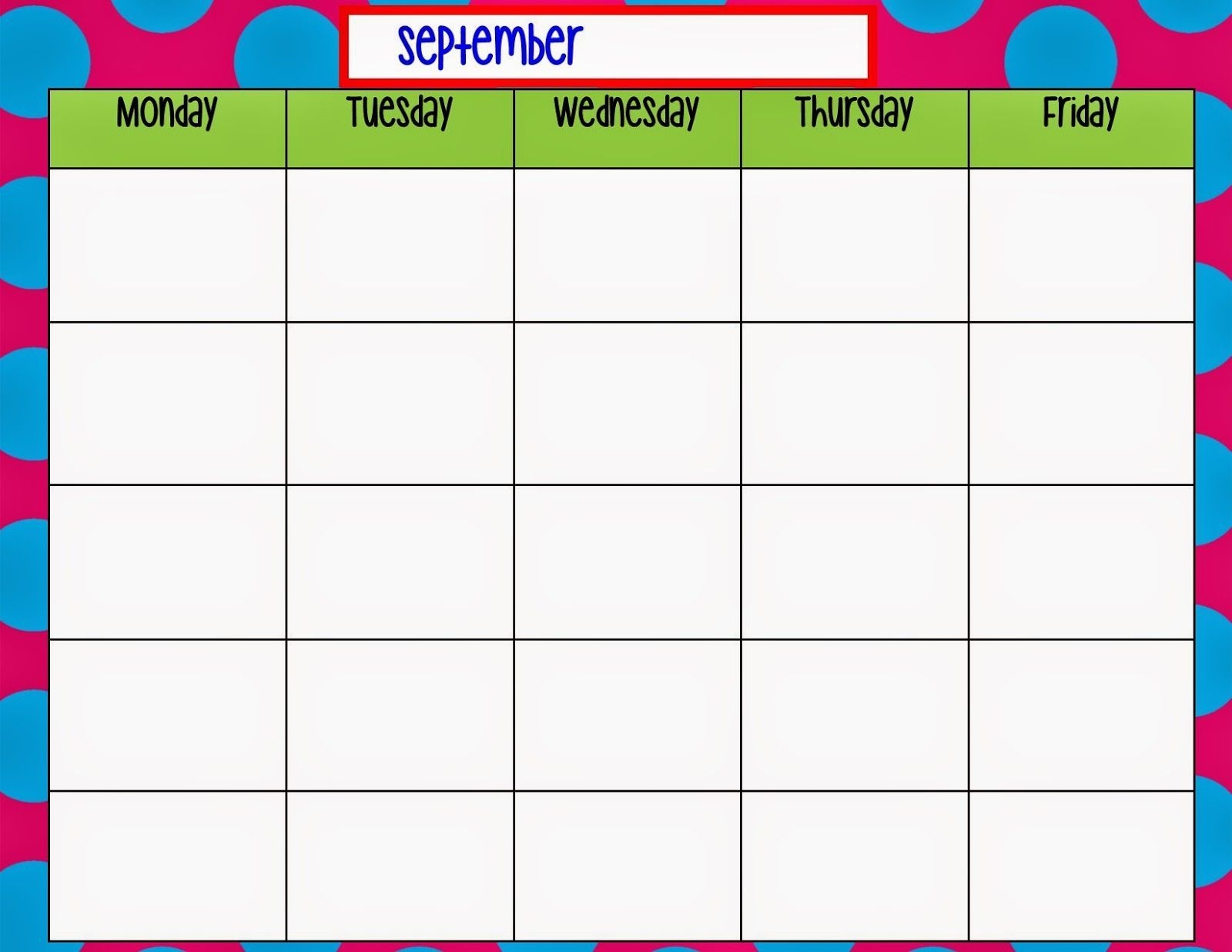 Monday Through Friday Calendar Template   Weekly Calendar