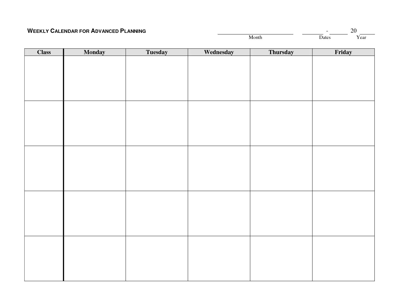 monday through friday printable calendar | blank weekly