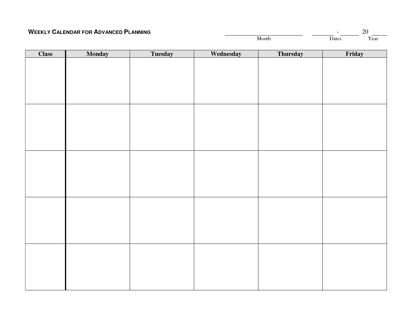 monday through friday printable calendar | blank weekly
