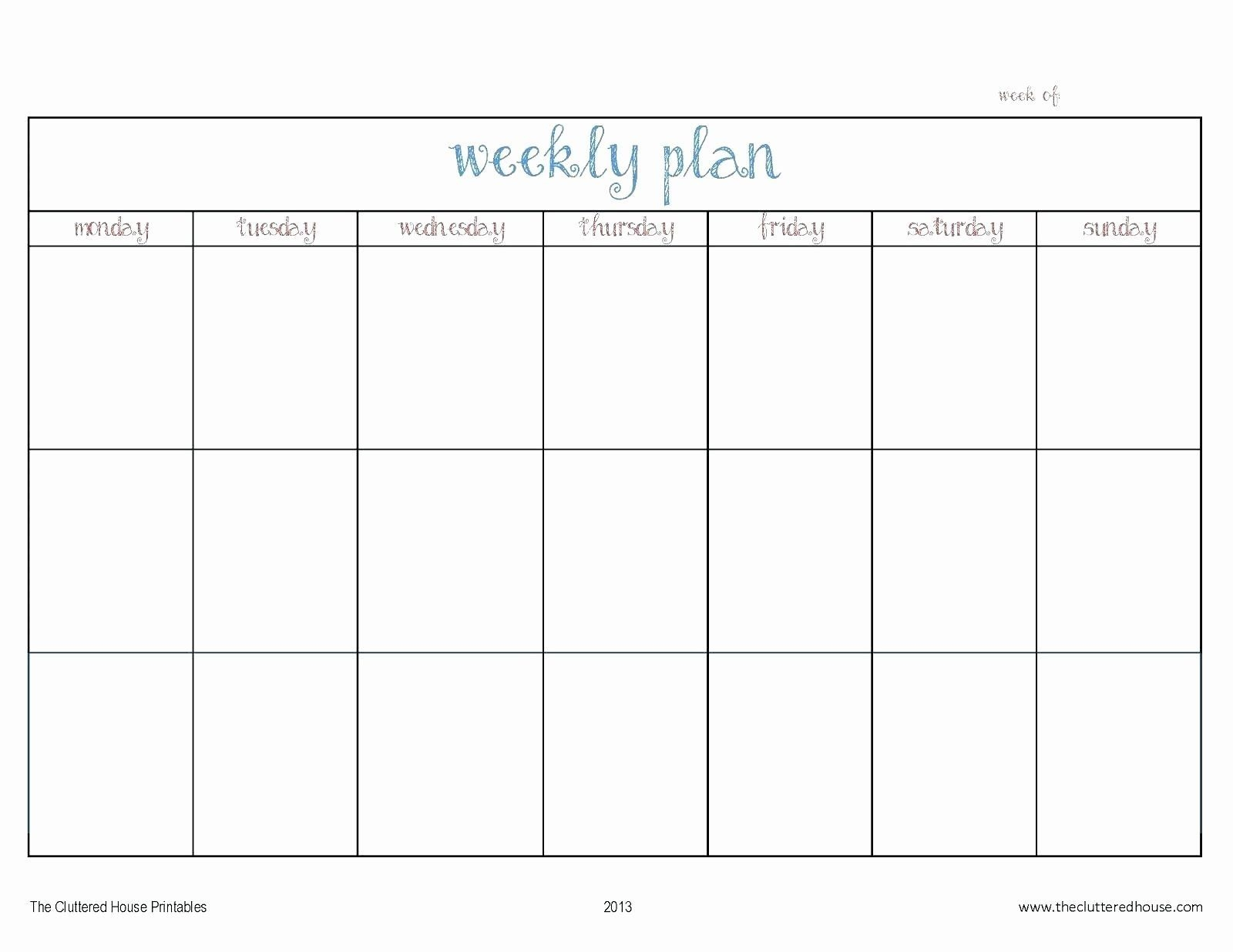 monday through friday schedule template unique week calendar