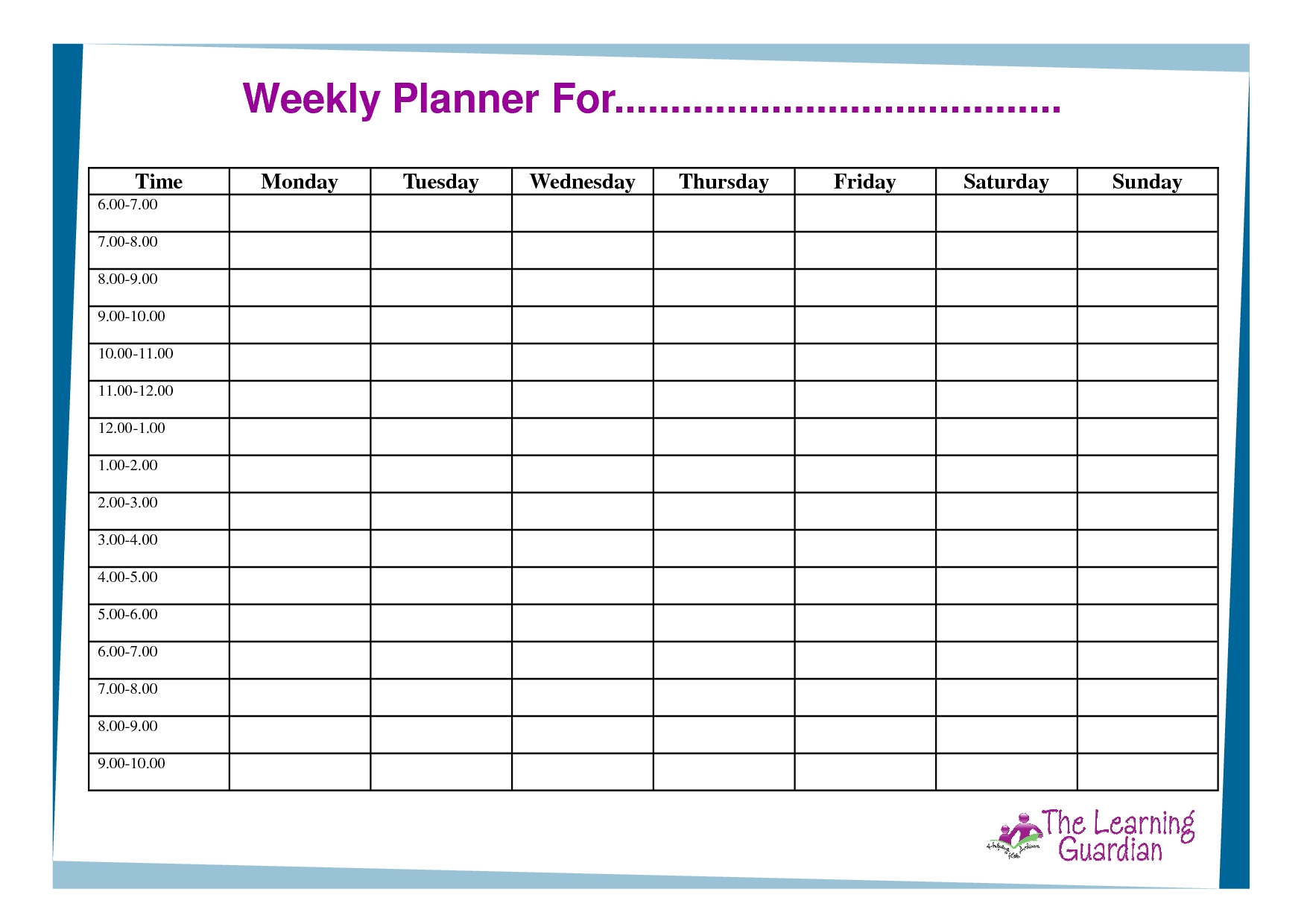 monday to sunday calendar template | calendar for planning