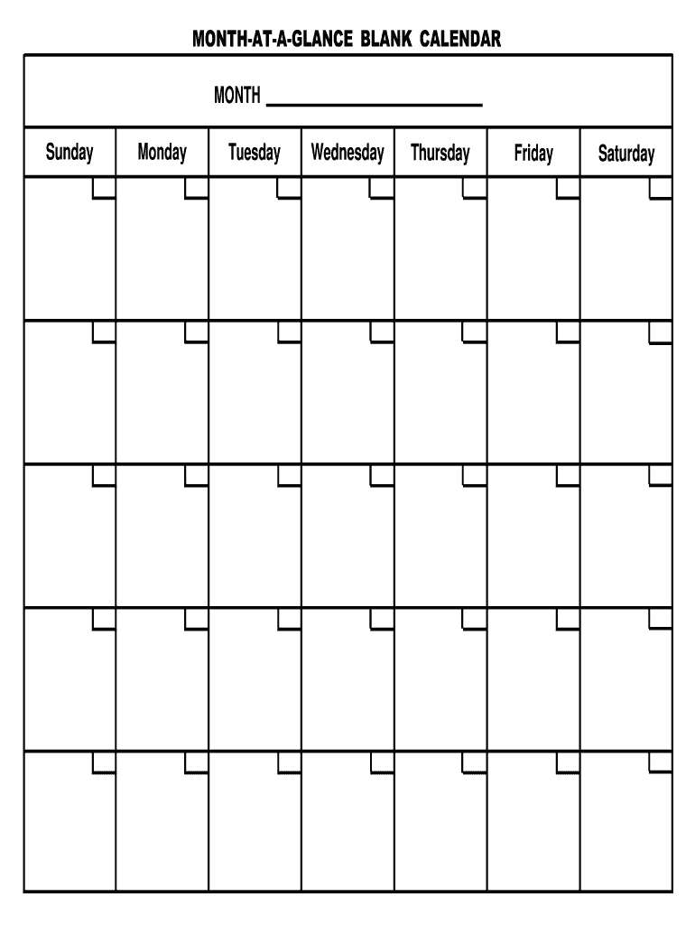 Month At A Glance Template Fill Out And Sign Printable Pdf Template | Signnow