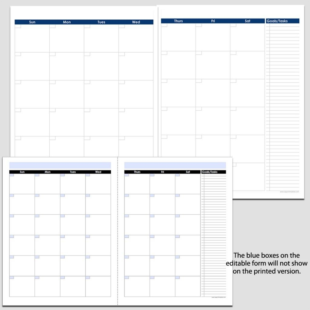 "Monthly 2 Page Perpetual Calendar With Tasks 8 1/2"" X 11"