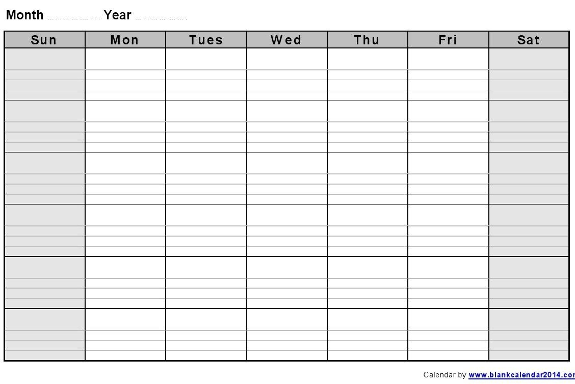 Monthly Blank Formatted Weekly Calendar Template