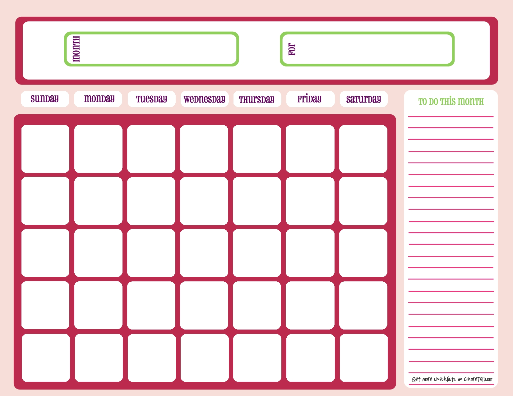 Monthly Calendar Checklist | Monthly Calendar Blank 2020