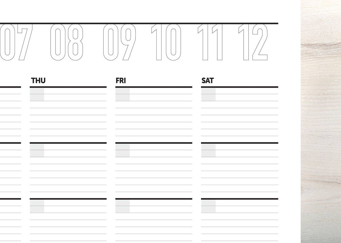 monthly calendar, month at a glance