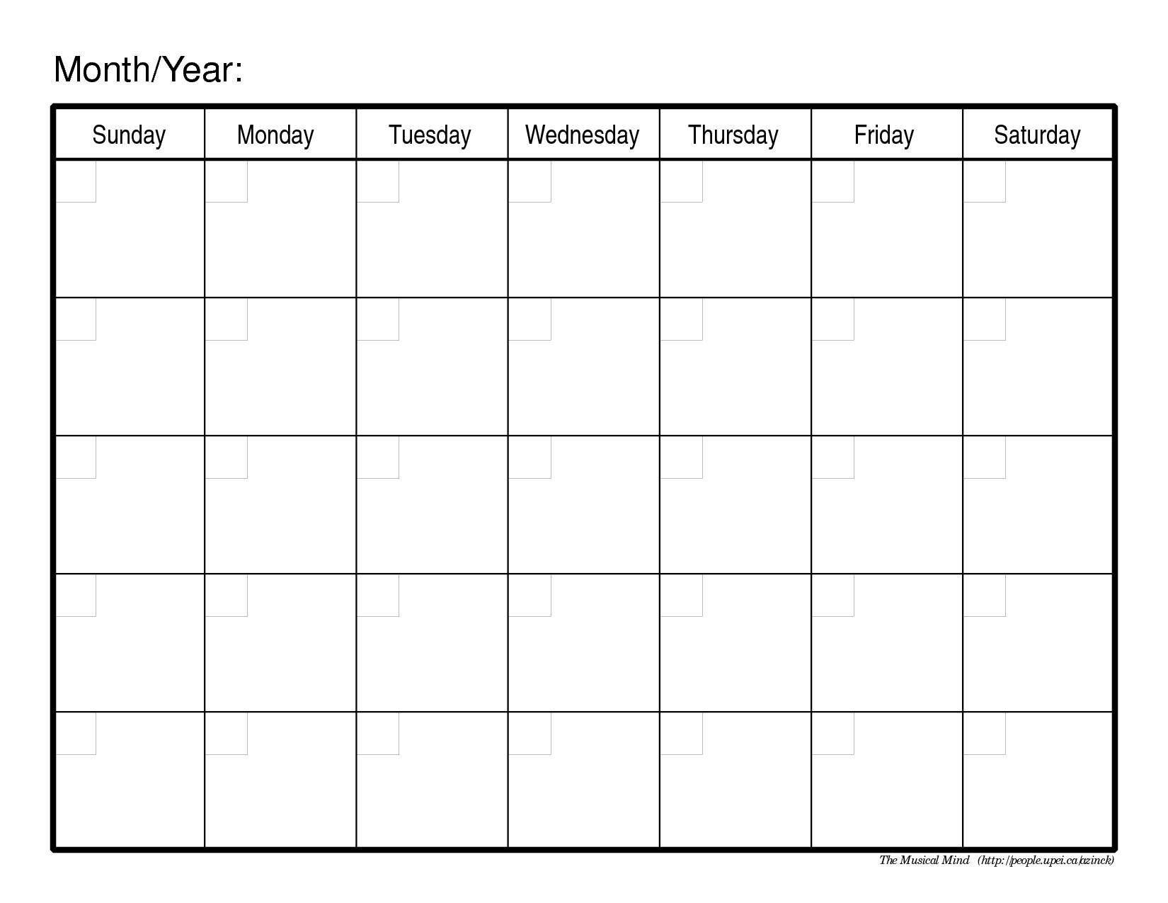 Monthly Calendar No Dates – Printable Week Calendar