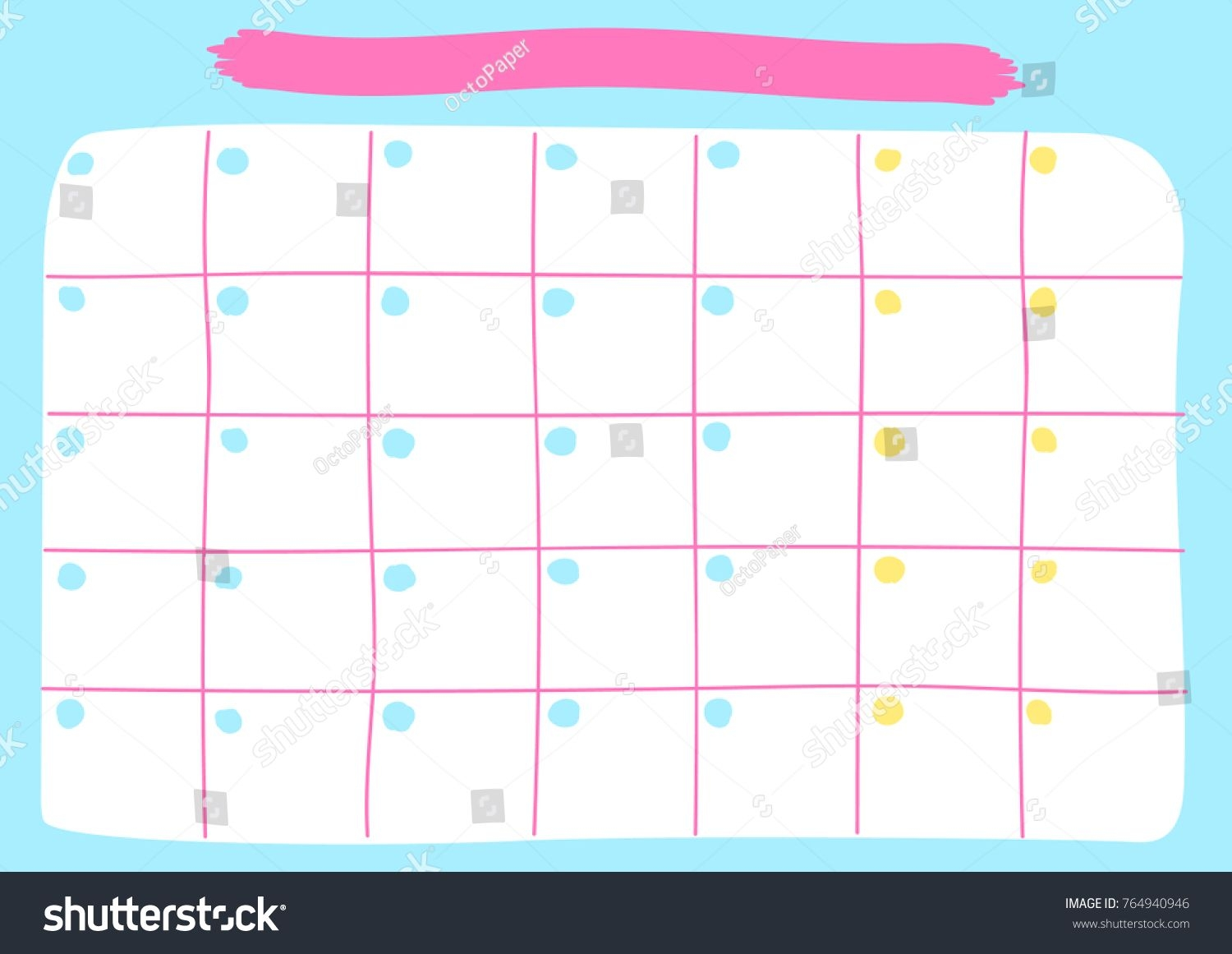 monthly calendar template printable pastel calendar stock