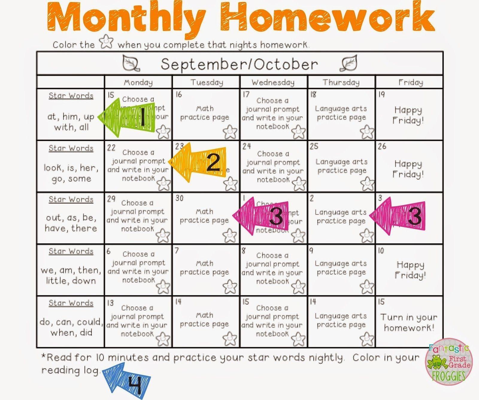 Monthly Hw Sample 1,600×1,337 Pixels   Homework Calendar