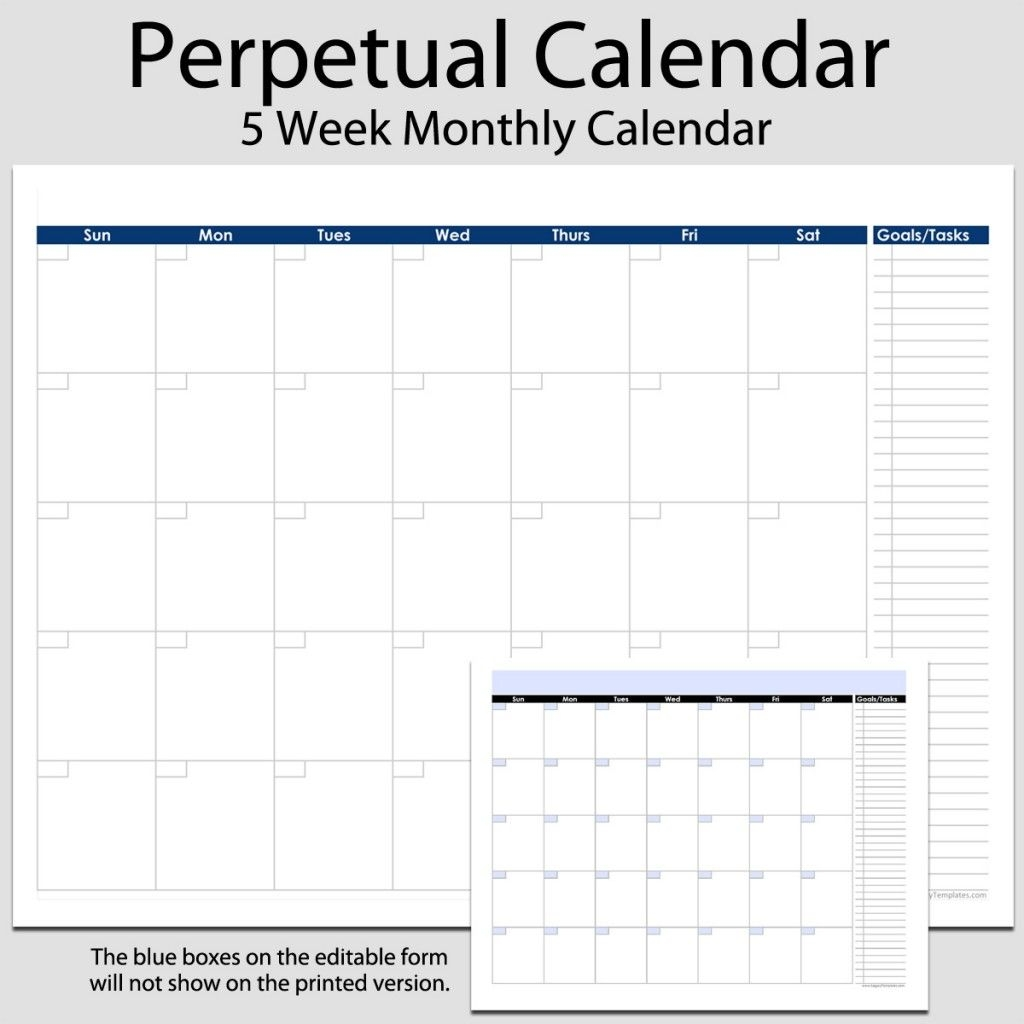 Monthly Perpetual Calendar With Tasks In Landscape – 8 1/2